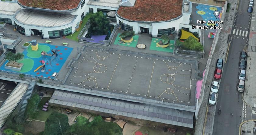 Google Earth view of Prior Weston Primary School's multi-use game area (MUGA) near the Barbican